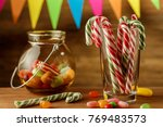 colored candy in a jar. sweets... | Shutterstock . vector #769483573