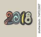 2018. happy new year of the dog.... | Shutterstock .eps vector #769512007