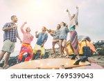 happy friends dancing and...   Shutterstock . vector #769539043
