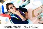 beautiful fashion designer... | Shutterstock . vector #769578367