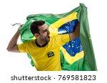 brazilian fan celebrating on... | Shutterstock . vector #769581823