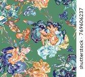 botanical vector seamless iris...   Shutterstock .eps vector #769606237