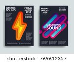 electronic music poster. modern ... | Shutterstock .eps vector #769612357