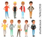set of cute boys characters... | Shutterstock .eps vector #769612933