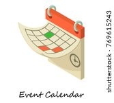 event calendar icon. isometric... | Shutterstock .eps vector #769615243