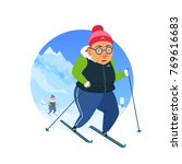 active elderly woman and man... | Shutterstock .eps vector #769616683