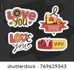 set of contemporary girlie love ... | Shutterstock .eps vector #769629343