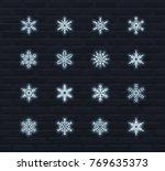 neon snowflakes vector icon set | Shutterstock .eps vector #769635373
