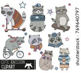 cute raccoon clipart