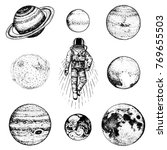 astronaut spaceman. planets in... | Shutterstock .eps vector #769655503