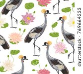 seamless pattern with crane... | Shutterstock .eps vector #769664233