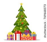 christmas tree and holiday... | Shutterstock . vector #769668373