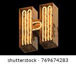 metallic orange neon font... | Shutterstock . vector #769674283