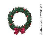 christmas wreath bow tie gift... | Shutterstock .eps vector #769688557