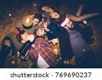 group of friends having fun on... | Shutterstock . vector #769690237