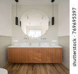 bathroom in a modern style with ... | Shutterstock . vector #769695397