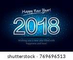 happy new year 2018  wish you... | Shutterstock .eps vector #769696513