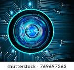 binary circuit board future... | Shutterstock .eps vector #769697263