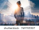 the double exposure image of... | Shutterstock . vector #769705507