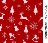 christmas seamless pattern ... | Shutterstock .eps vector #769710037