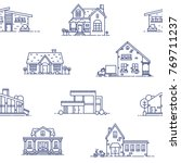 seamless pattern with suburban... | Shutterstock .eps vector #769711237