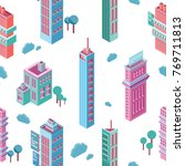 seamless pattern with isometric ... | Shutterstock .eps vector #769711813