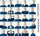 set of handsome emotional man... | Shutterstock . vector #769720393