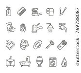 hygiene related icons  thin... | Shutterstock .eps vector #769738087