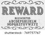 vintage font alphabet... | Shutterstock .eps vector #769757767