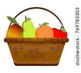 basket with fruits on a white... | Shutterstock .eps vector #769783303