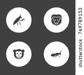 set of 4 zoology icons set...   Shutterstock .eps vector #769789153