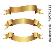 set of golden ribbons vector. | Shutterstock .eps vector #769792813