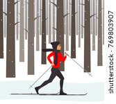 woman skier in motion in a... | Shutterstock .eps vector #769803907
