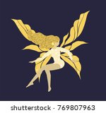 Shining Golden Fairy With Long...