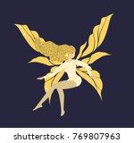 shining golden fairy with long...   Shutterstock .eps vector #769807963