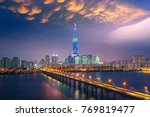 bridge and tower in seoul city... | Shutterstock . vector #769819477