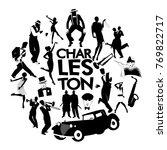 charleston dance icons. cars ... | Shutterstock .eps vector #769822717