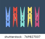 colored clothespins set. vector ... | Shutterstock .eps vector #769827037