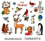 christmas horned deer  squirrel ... | Shutterstock .eps vector #769845973