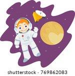 little astronaut boy wearing... | Shutterstock .eps vector #769862083