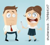 woman telling man that she is... | Shutterstock .eps vector #769864147