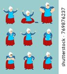 grandmother set poses and... | Shutterstock .eps vector #769876237