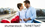 young couple in love dating and ... | Shutterstock . vector #769877647