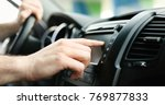 man using gps navigation system ... | Shutterstock . vector #769877833