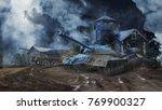 three battle tanks guarding the ... | Shutterstock . vector #769900327