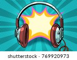 headphones comic bubble audio.... | Shutterstock .eps vector #769920973