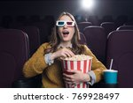 young excited woman in 3d... | Shutterstock . vector #769928497