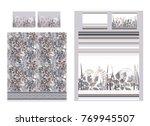 luxury bedding set with doodle...   Shutterstock .eps vector #769945507