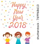 happy new year 2018 text with... | Shutterstock .eps vector #769968613