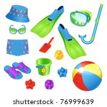 beach accessories for boy | Shutterstock .eps vector #76999639